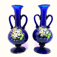 Floral Vases Vintage Cobalt Blue Hand Blown Handpainted Gold Trim Matching Pair