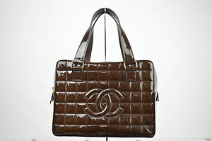 Chanel CC Brown Patent Leather Square Quilted Boston Handbag Purse S80127