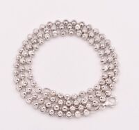 ITALY Sterling Silver Diamond Cut BALL Chain Necklace-Plain//Rhodium P.-Hammered
