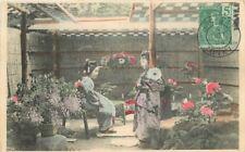 1904 French Indochina Hon-Bay Tonkin Franking Cancel Postcard Garden Women