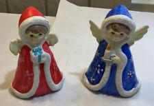 Pair Vintage Christmas Chalkware Angels Hand Painted Korea