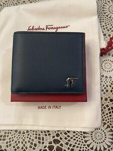 NWT Salvatore Ferragamo SF Logo Calfskin Leather NAVY Wallet Gancini Authentic