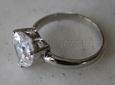 White Gold finished Ring #031 Size 7 925 Sterling Silver & Heart cut Cz w/