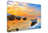 BOAT ON LAKE CANVAS PICTURE OIL PAINTING REPRINT / WALL ART / LARGE / PRINTS