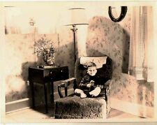 Vintage Antique Photograph Little Boy Sitting in Chair in Retro Living Room