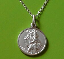 SOLID STERLING REVERSIBLE SILVER ST SAINT CHRISTOPHER PENDANT CHAIN & GIFT BOX