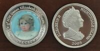 NIGHTINGALE ISLAND - RARE COLORED 1 CROWN UNC COIN 2005 YEAR QUEEN MOTHER GIRL