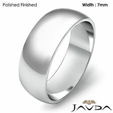 7mm 14k White Gold Women Wedding Solid Band Dome Plain Ring 6.3gram Size 7-7.75