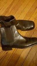DAVID & JOAN MEN ANKLE BOOTS DARK BROWN HAND MADE IN ITALY LEATHER  SIZE 11.5