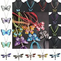 Women Jewelry Enamel Butterfly Crystal Pendant Necklace Vintage Fashion Chain