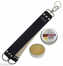 LEATHER STROP STRAP BELT SHARPENING STRAIGHT CUT THROAT SHAVING RAZOR PASTE 50ml