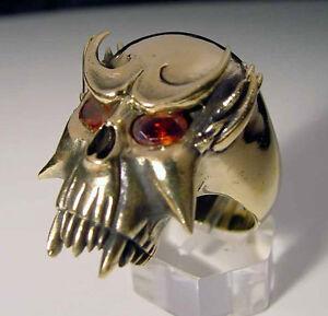 Bronze Vampire Biker Ring Red Crystal Eyes Custom Sized Mythology Occult R-23b