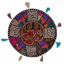 Indian Embroidered Beaded Patchwork Round FLOOR CUSHION COVER POUF Footstool 18""