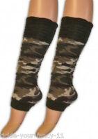 Womens Ladies Army Soldier Leg Warmers Camo Camouflage Fancy Dress Girls Green