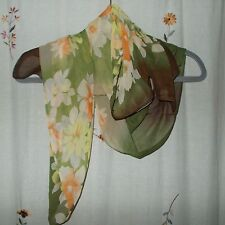 Shades of Green with Butterscotch & Tan, Floral Design, Oblong Scarf