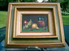 Vintage  Oil Painting Still Life Fruit &  Pitcher with  cherry  signed  De Mazia