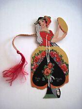 Vintage Art Deco Bridge Tally w/ A Woman Playing a Tambourine w/ Spade Skirt *