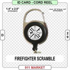 Firefighter Scramble ID Card Cord Reel Fire Fighter Service FF VFF Rescue - D 29