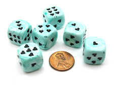 Pack of 6 Heart 'Ice Cream' 16mm D6 Chessex Dice - Green with Black Hearts