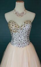 NWT GLAMOUR TERANI Couture USA Grand Prom Formal Evening Ball Gown Blush Size 2