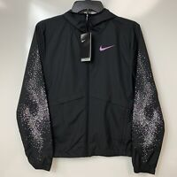 Nike Womens Essential Black Water-Repellent Hooded Running Jacket Size XS $100