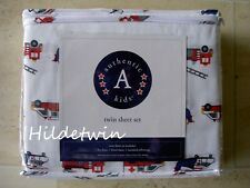 AUTHENTIC KIDS FIRE ENGINES TRUCKS HELICOPTER RESCUE VEHICLES TWIN SHEET SET NIP