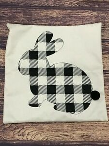 """White"" & Black Buffalo Plaid Bunny 18"" x 18"" Pillow Cover"