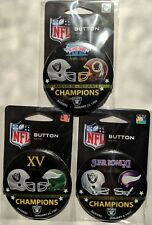 Oakland Los Angeles Raiders Super Bowl Champions Button Set Lot of 3 SB 11 15 18