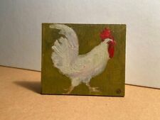 TINY OIL CHICKEN PAINTING ON BIRCH PANEL WITH STAND eftstudios fine art