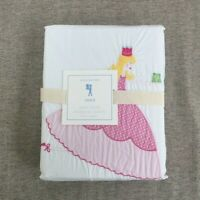New POTTERY BARN KIDS Princess Grace Embroidered Duvet Cover only Twin pink