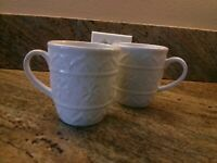 Pier 1 ~Chateau Clair~ 2 Coffee Mug Cup Set Ornate Embossed New Multi Avail