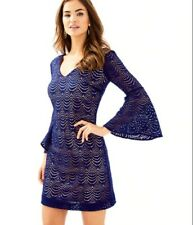 Lilly Pulitzer Nicoline Navy Lace Dress 3/4 Bell Sleeves-Spring Wedding-Sm (4/6)