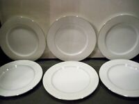6 VINTAGE CROWN LANCASTER ''VICTORIAN ROSE'' DINNER PLATES  10 1/2''