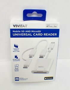 Vivitar Mobile SD and MicroSD Universal Card Reader - White - NEW - SEALED