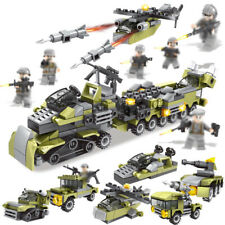296pcs 6in1 Military Truck Building Blocks with WW2 Soldier Figures Toys Bricks