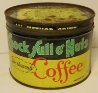 Old Vintage 1950s CHOCK FULL O'NUTS COFFEE GRAPHIC COFFEE TIN ONE POUND NEW YORK