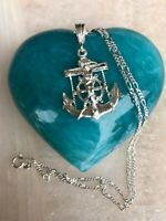 925 Sterling silver Nautical Jesus Anchor Crucifix Pendant  20;Long Necklace