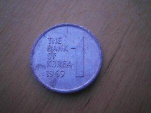 """1969 THE BANK OF KOREA """"1 WON COIN"""" VINTAGE - ALUMINIUM RARE - FREE POSTAGE!!"""
