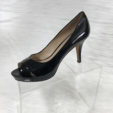 40c25aa0a354 Via Spiga Women s Pumps Open Toe Black Patent Leather Size 8.5 M