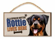 """Rottweiler """"A Spoiled Rotten Rottie Lives Here"""" Dog Sign v3 featuring the art of"""