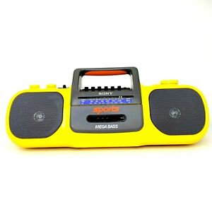 Sony Sports Mega Bass CFS-914 Boombox Radio Cassette Player Yellow VTG