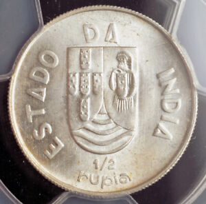 1936, India (Portuguese). Silver ½ Rupia Coin. Pop 1/0. None Higher!  PCGS MS65!