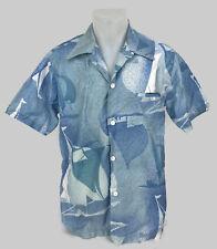 VIntage 1970s Diamond Head Men's Aloha Shirt Blue Sailboat Print Cotton Sz M