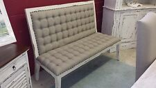 Tufted Bench 3 Seats Linen Fabric White Distressed Shabby Cottage Wood Finish
