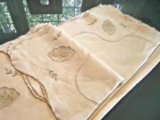 Vintage Madeira Linen 63x118 Banquet Tablecloth Organdy Inserts Ecru Embroidery