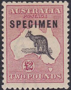 K1319)Australia 1918 £2 Purple Black & Rose 3rd wmk. Kangaroo ovpt. Type C