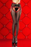 Lust Collant Corsetto Aperto a Forma di Cuore Nero e Rosso con Riga Dietro L/XL