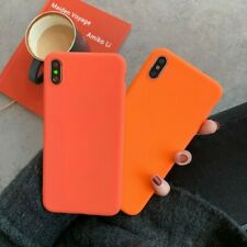 Simple Orange Matte Candy TPU Phone Case Cover For iPhone 6s 7 8 plus XS MAX XR