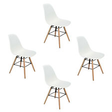 Lot de 4 Chaises Scandinaves de Salle Manger Blanches tendance design rétro Chai