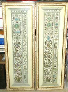 Magnificent Rare Pair of Hand-Colored Architectural Column Etchings